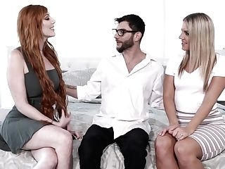 Gorgeous Honeys Candice Dare And Lauren Phillips Fuck One Bore Dude In Glasses
