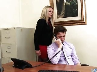 Whorey Blonde Assistant Pussyfucked In The Office