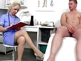 Stockings Gams Cougar Medic Maya Jizz On Tits
