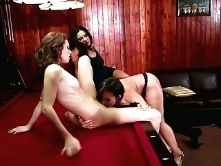 Three Hot Blooded Lesbo Sweeties Have Steamy Trio Some  On Billiard Table