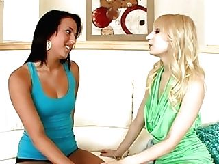 Fresh Faced Blonde And Dark-haired Gobble Eack Other In Sixty Nine Position
